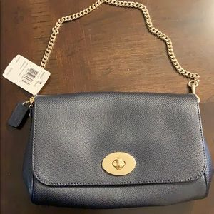 COACH Mini navy blue Ruby Crossgrain Leather